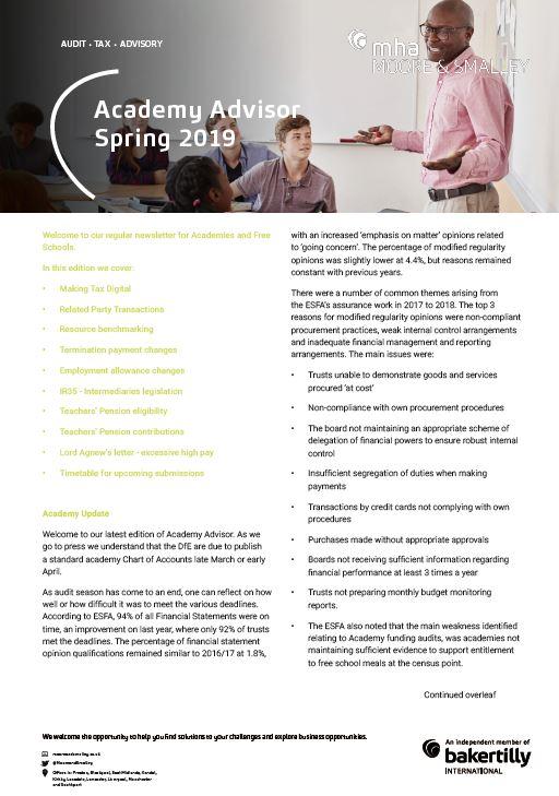 Academy Advisor – Spring 2019