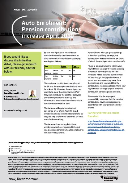Auto Enrolment: Pension contributions increase April 2019
