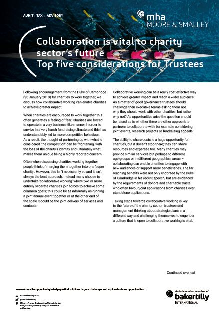 Collaboration is vital to charity sector's future – Top five considerations for Trustees