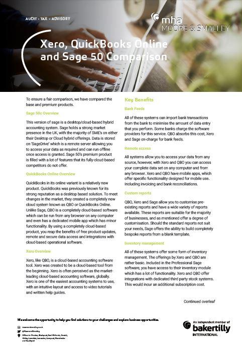 Xero, QuickBooks Online and Sage 50 Comparison - Moore & Smalley