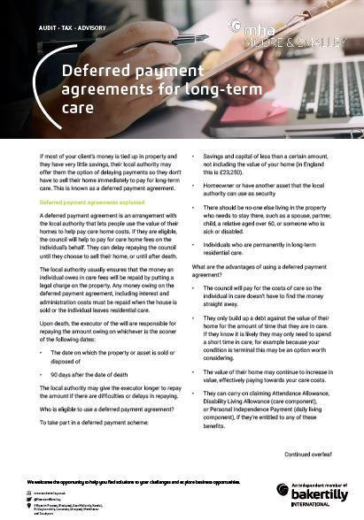 Deferred payment agreements for long-term care