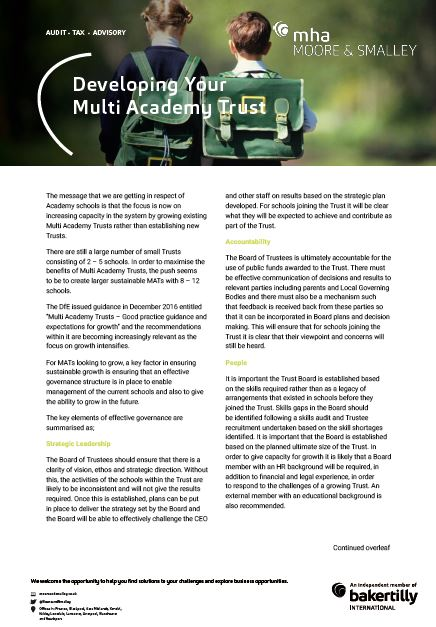 Developing Your Multi Academy Trust