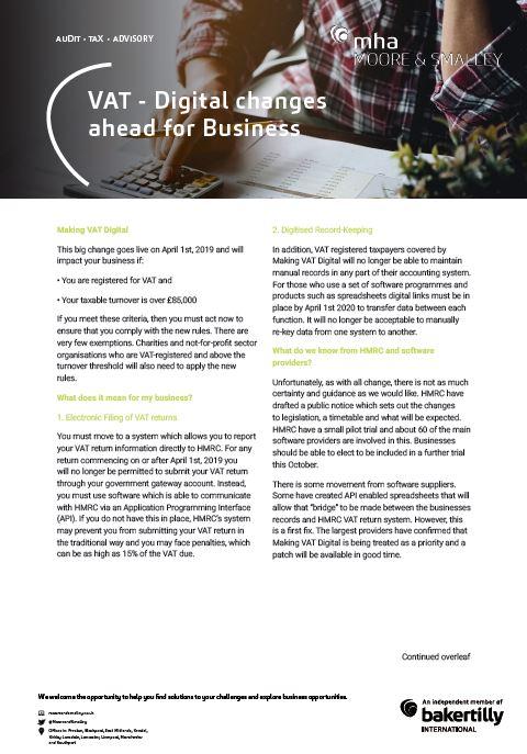 VAT – Digital changes ahead for Business