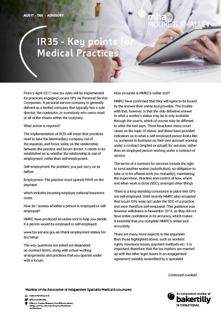 IR35 – Key points for Medical Practices