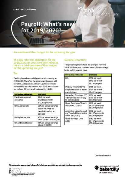 Payroll: What's new for 2019/20?