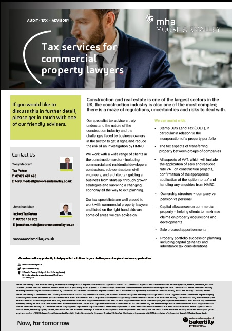 Tax services for commercial property lawyers