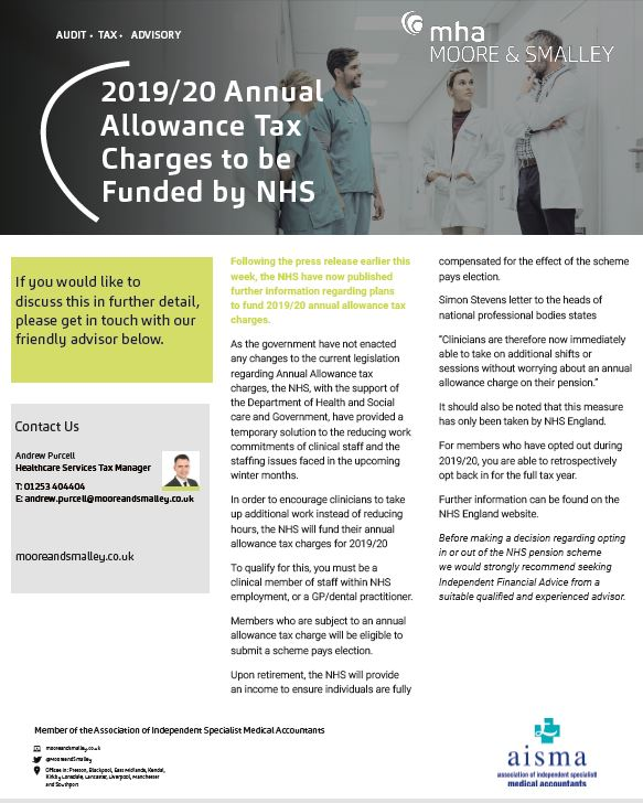 2019/20 Annual Allowance Tax Charges to be Funded by NHS