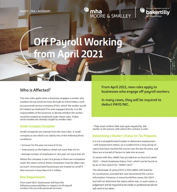 Off Payroll Working from April 2021