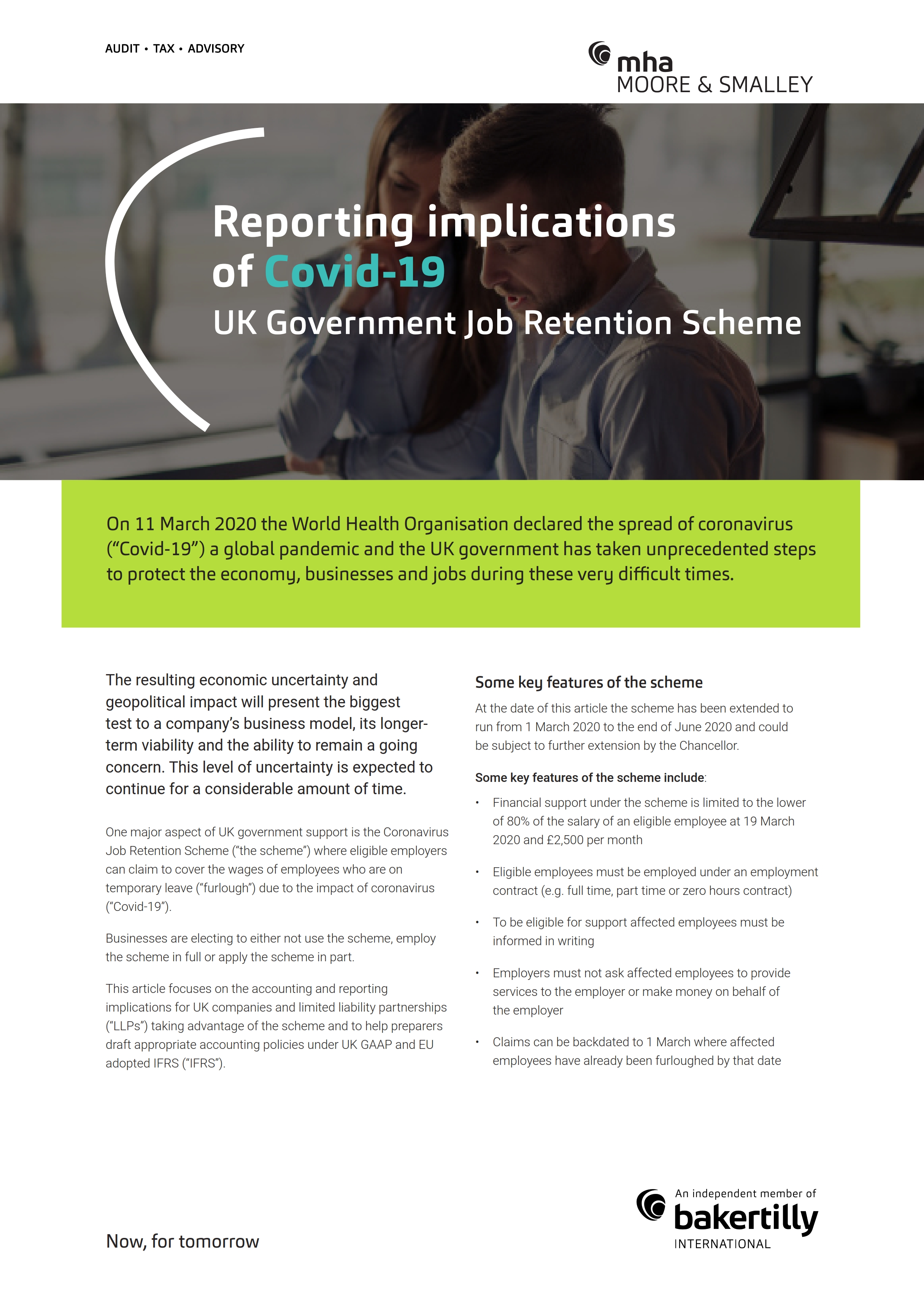 Reporting implications of Covid-19 UK Government Job Retention Scheme