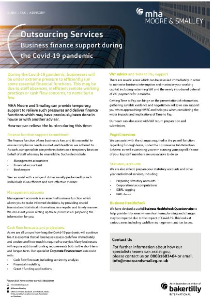 Business finance support during the Covid-19 pandemic