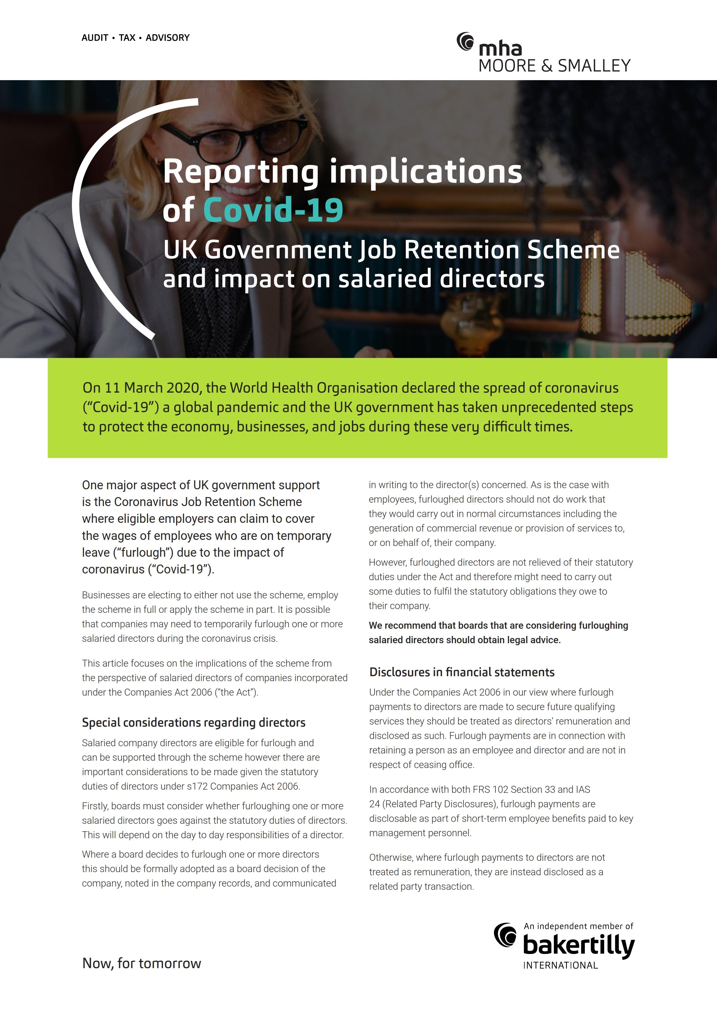 UK Government Job Retention Scheme – impact on salaried directors