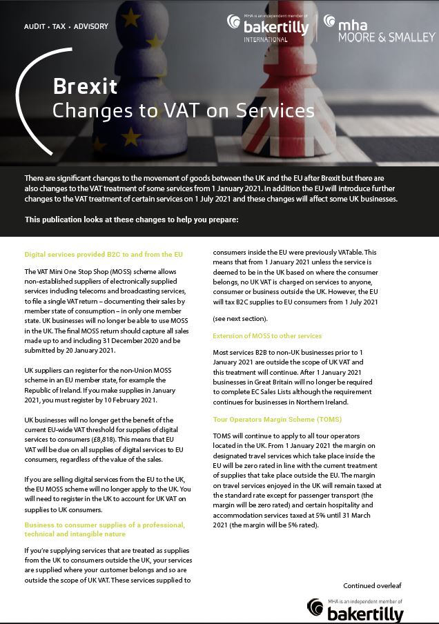 Brexit – Changes to VAT on Services