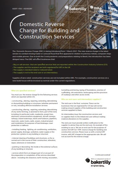 Domestic Reverse Charge for Building and Construction Services