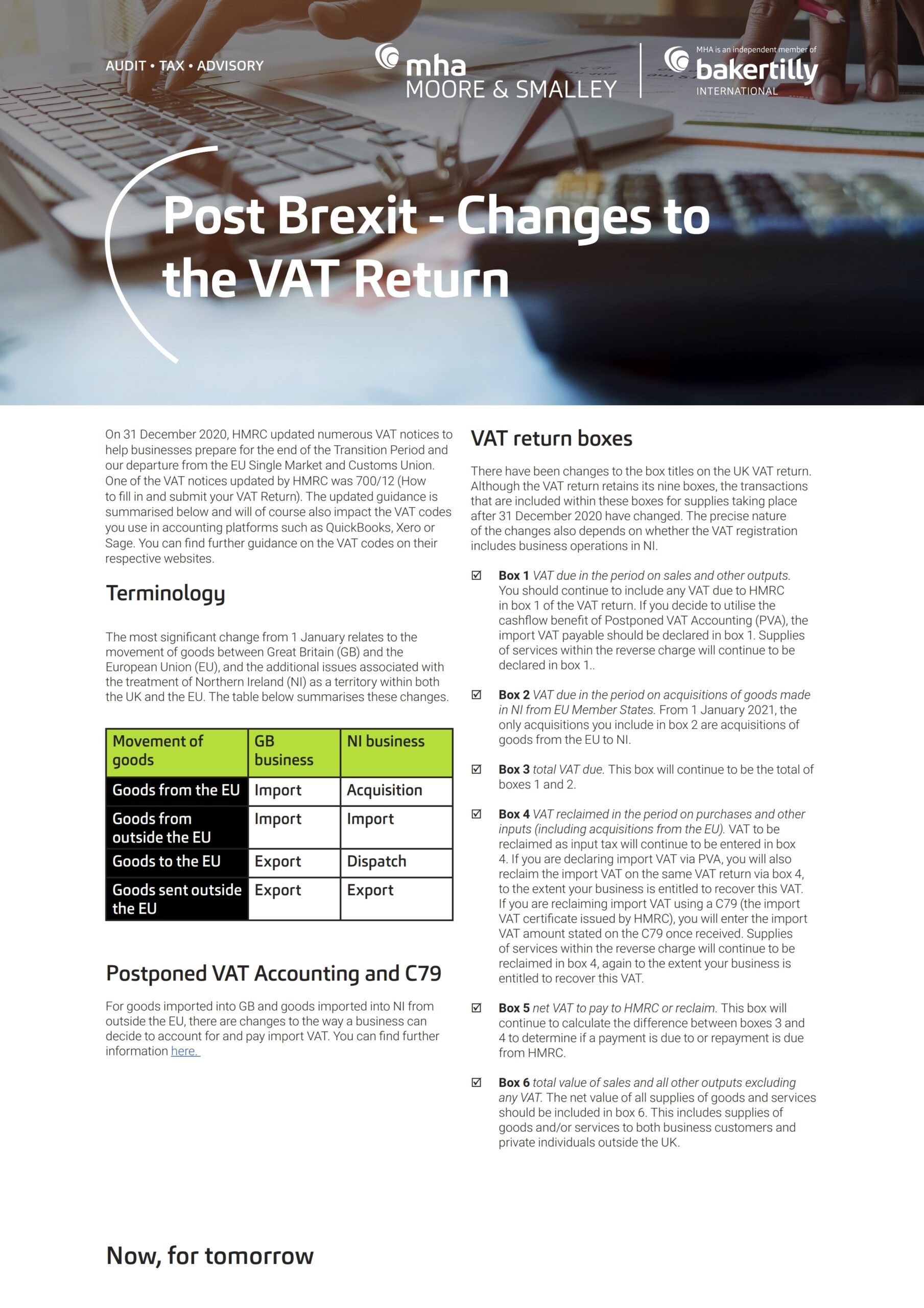 Post Brexit – Changes to the VAT Return
