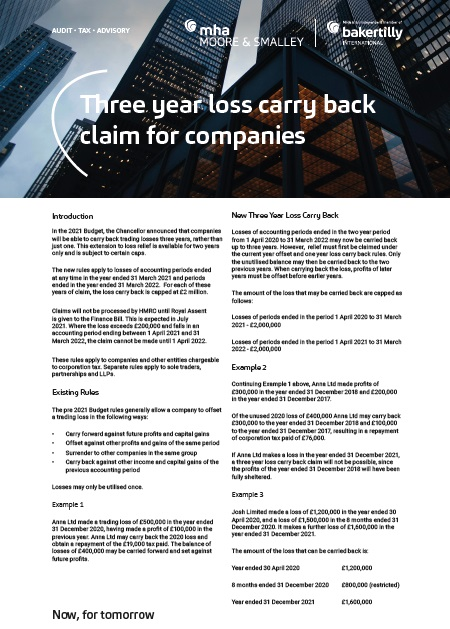 Three year loss carry back claim for companies