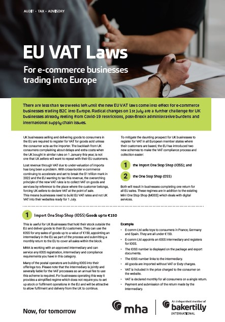 EU VAT laws for e-commerce businesses trading into Europe